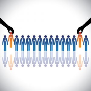Concept vector graphic- hiring(chosing) the best job candidates. The graphic shows company making a choice of people with right skills for the job among many candidates competing for the same post